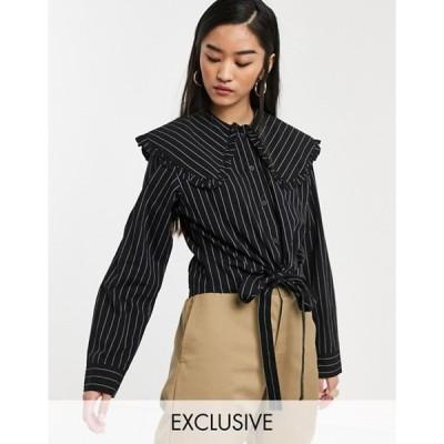 コルージョン レディース シャツ トップス COLLUSION pinstripe cropped shirt with oversized collar