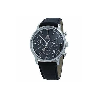 オリエント 腕時計 メンズ用 Orient Sports Chronograph Black Dial Leather Men's Watch RA-KV0404B