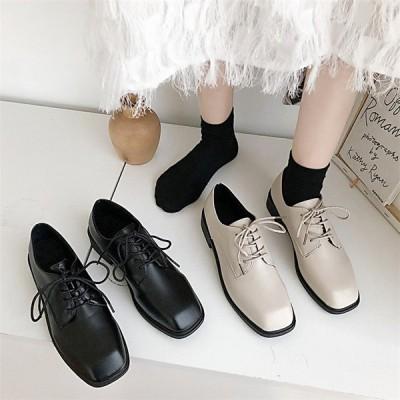 レディース  ローファー モカシン 皮靴 パンプス 太めヒール スクール スクエアートゥ カジュアルシューズ 女子靴