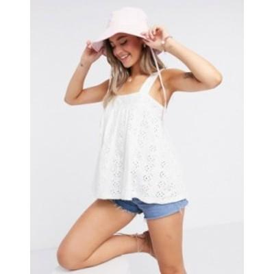 エイソス レディース タンクトップ トップス ASOS DESIGN sleeveless broidery top White