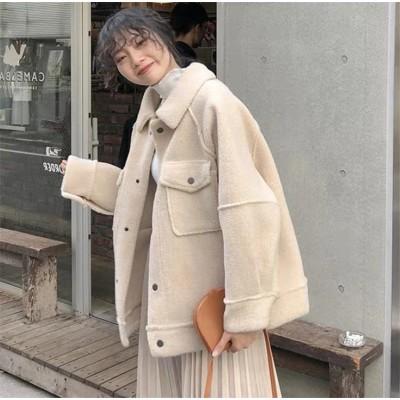 とてもファッション  INSスタイル  新作 子羊の毛 レディース ファッション ゆったりする  小さい新鮮な 毛皮 快適 秋 冬 コート  カジュアル 百掛け 短いスタイル ムートンコート