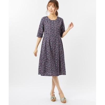 大きいサイズ 綿100%5分袖花柄ワンピース(アリスバーリー)(オトナスマイル) ,スマイルランド, ワンピース, plus size dress