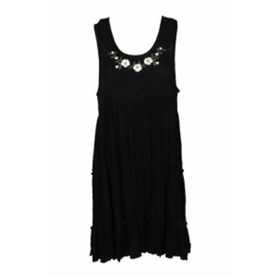 Karen Kane カレンケーン ファッション ドレス Karen KANE Black Sleeveless Floral Embroidered Layered A-Line Dress L