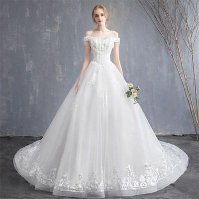 ウエディングドレス レディース プリンセスドレス 白い ブライダルドレス 花嫁 編み上げ Aライン トレーン 演奏会 前撮り ドレス