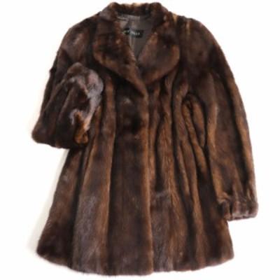 極美品▼JOY MILLE SAGA MINK サガミンク 本毛皮コート ダークブラウン F 毛質艶やか・柔らか◎