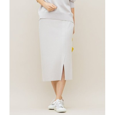 L size ONWARD(大きいサイズ)/エルサイズオンワード 【洗える】スムースストレッチ リブニットスカート アイボリー系 5