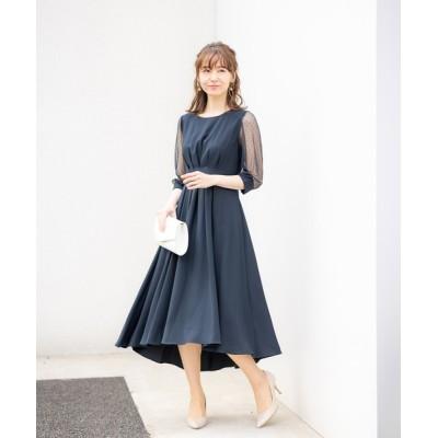 ドレス お袖チュール使いタックデザイン・テールラインドレス(ワンピース)
