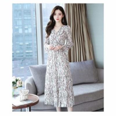 ドレス ロングドレス ワンピース  ロングワンピース シフォンワンピース 大きいサイズ  Vネック 花柄 ロング丈 シンプル  レディース