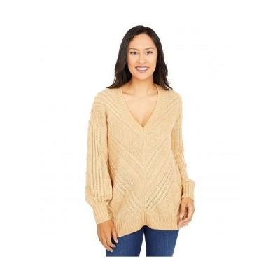 Lucky Brand ラッキーブランド レディース 女性用 ファッション セーター Textured V-Neck Sweater - Butterscotch