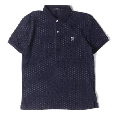 BLACKLABELCRESTBRIDGE ブラックレーベルクレストブリッジ ポロシャツ ドット柄 半袖 ネイビー×ホワイト 2【メンズ】【中古】【K2743】