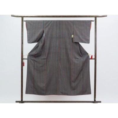 【中古】リサイクル紬 / 正絹縦縞袷紬着物 / レディース(古着 中古 紬 リサイクル品)