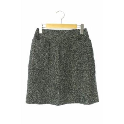 【中古】アーバンリサーチ URBAN RESEARCH スカート 膝丈 台形 ウール 150-155 白 黒 /HH ■OS レディース