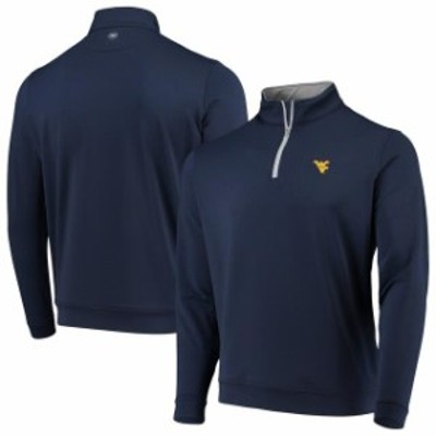 Peter Millar ピーター ミラー スポーツ用品  Peter Millar West Virginia Mountaineers Navy Perth Solid Stretch Quarter-Zip Pullover