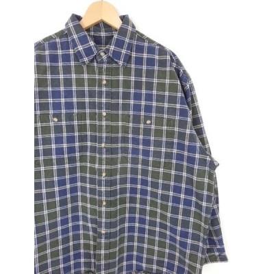 ポッキリSALE 古着 大きいサイズ 90's Eddie Bauer エディバウアー ヘビネル ヘビーネルシャツ ネイビー系 メンズUS-Lサイズ 白タグ ビンテージ hs-5732