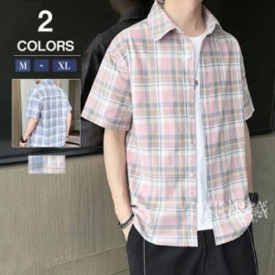 シャツ メンズ 夏 オープンカラーシャツ 半袖 開襟シャツ チェック柄 カジュアルシャツ トップス 新作