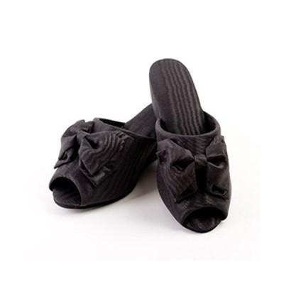 モアレリボンヒール付スリッパ 日本製 (L, ブラック) 収納袋プレゼント
