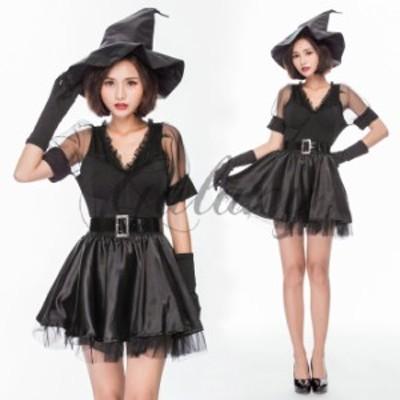 ハロウィン 魔女 デビル 小悪魔 魔法使い ウィッチ ブラック ワンピース イベントパーティー コスプレ衣装 ps3274