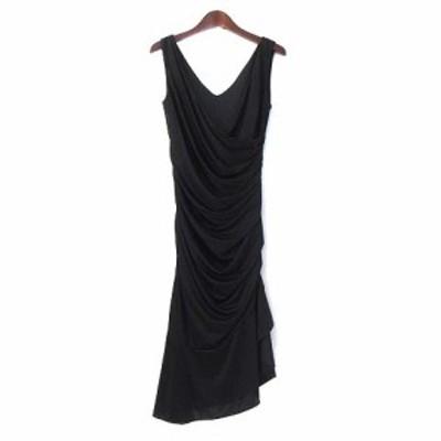 【中古】ピンキー&ダイアン PINKY&DIANNE ワンピース ドレス 38 M 黒 ノースリーブ ひざ丈 シャーリング ヘム