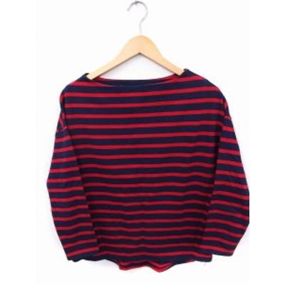 【中古】スピック&スパン Spick&Span Tシャツ カットソー 長袖 ボートネック ボーダー 綿 レッド 赤 ネイビー 紺 /FT42