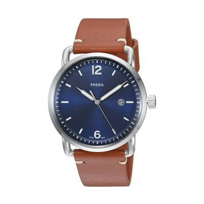 フォッシル 時計 Men 's The Commuter Watch withレザーストラップ One Size Blue/Silver/Brown