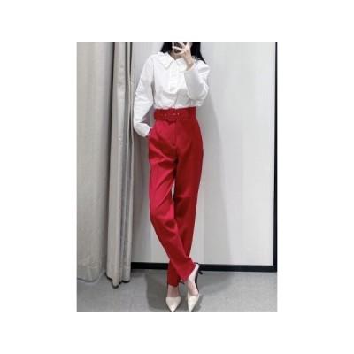 9100251カジュアルな純色の足の女性ズボン68#ZMT12 586