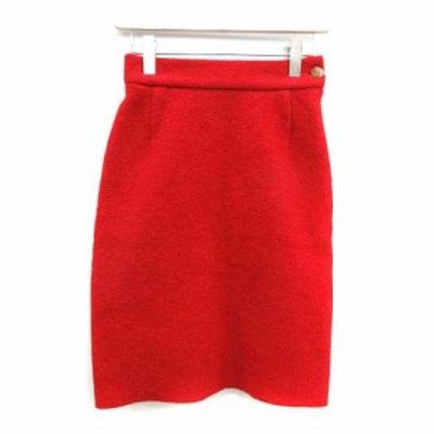 【中古】ヴィヴィアンウエストウッド Vivienne Westwood スカート ひざ丈 タイト オーブ ウール 40 M 赤 レッド
