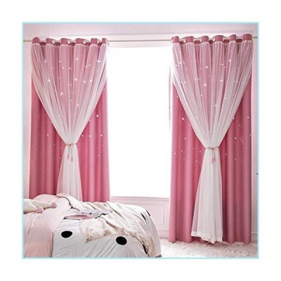 新品Decdeal Window Curtain Hollowed Out Stars Shading Curtain Drape Purdah for Home Living Room Bedroom,1 Panel