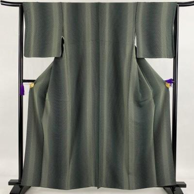小紋 秀品 市松文様 縞模様 深緑 袷 身丈160.5cm 裄丈63.5cm S 正絹 中古