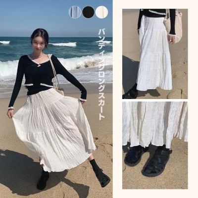 [Mocobling]韓国ファッション代表ブランド! シワ加工ティアードスカート