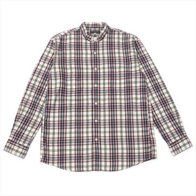 メンズ カジュアルシャツ 長袖 スタンド 綿100% オフホワイト×ネイビー、レッドチェック