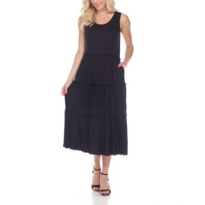 ホワイトマーク レディース ワンピース トップス Women's Scoop Neck Tiered Midi Dress
