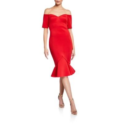 バッドグレイミッシカ レディース ワンピース トップス Off-The-Shoulder Flounce-Hem Dress