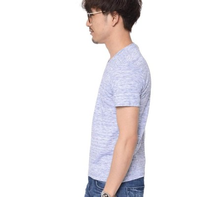 ティーシャツドットエスティー Tシャツ Vネック 半袖 無地 天竺 スラブ カットソー 杢 ビッグサイズ メンズ ネイビー L