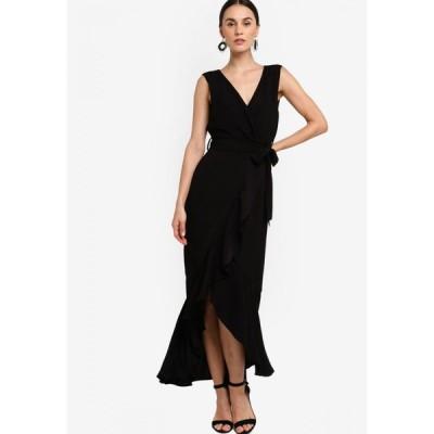 ザローラ ZALORA レディース パーティードレス ワンピース・ドレス Overlap Top Fit and Flare Midi Dress Black