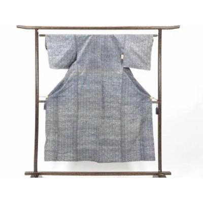 【中古】リサイクル紬 / 正絹グレー地単衣紬着物 (古着 中古 紬 リサイクル品)