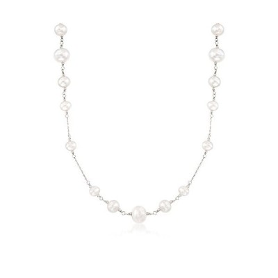 Ross-Simons 6-10mm Cultured Pearl Station Necklace in Sterling Silver
