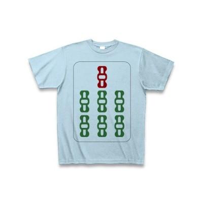 麻雀牌 七索 チャーソウ <索子 チャッソウ>黒縁枠ロゴ Tシャツ(ライトブルー)