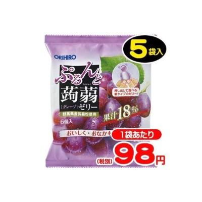 【オリヒロ】6個ぷるんと蒟蒻ゼリーパウチ〈グレープ〉(5袋入)