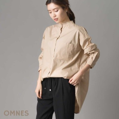 レディース シャツ フリーサイズ OMNES タイプライター ウォッシャブルバンドカラービッグシャツ  ビッグシルエット ナチュラル カジュアル