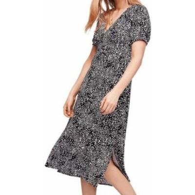 Free People フリーピープル ファッション ドレス Free People NEW Black Womens Size 4 Printed V-Neck Slit Shift Dress