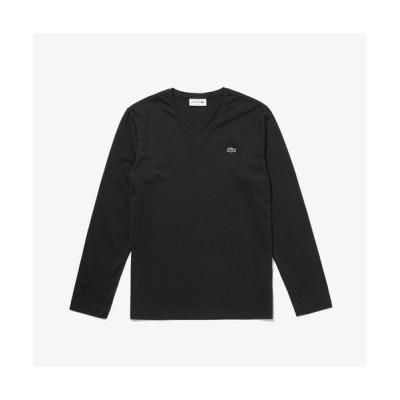 LACOSTE/ラコステ VネックロングTシャツ ブラック 4(日本サイズL)
