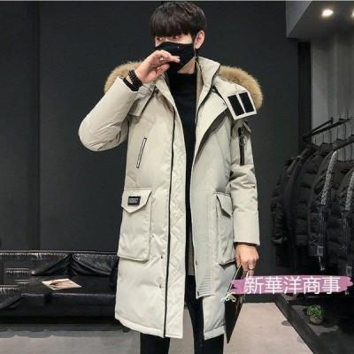 60%ダウンジャケットメンズブランド 2021厚手 ダウンコート ロング丈 オシャレ服メンズ 冬 ジャケット フード付き アウター 防寒 あたたか 大きいサイズ