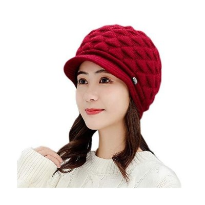 UpdateClassicの女性冬ニットチャンキ-ビデオビ-ニ-帽子丸い毛皮の並んだスキ-キャップスラツィ暖かいキャップヘッドウェアレッド並行輸入品