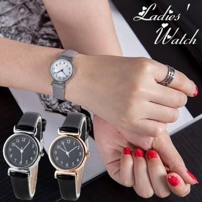 腕時計 ラウンドウォッチ アナログ レディース 女性用 婦人用 秒針 フェイクレザーベルト シンプル 上品 きれいめ 通勤 オフィス カジュアル