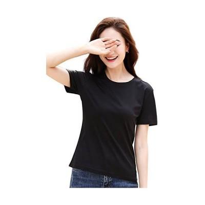 Tシャツ レディース スポーツ 無地 Tシャツ 半袖 コットン クルーネック Tシャツ 3色 (黒(3枚) S)