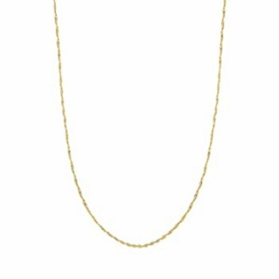 Ritastephens 10k Solid Yellow Gold Singapore Rope Pendant Chain Necklace 16 inches 1 Mm