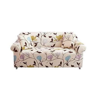 UMETE プリントソファカバー ソファーカバー 1ピース ストレッチソファカバー 3クッションカウチ用 家具プロテクター リビングルーム用 枕カバー