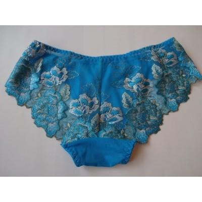刺繍レースショーツ、豪華な花刺繍,美しいブル—