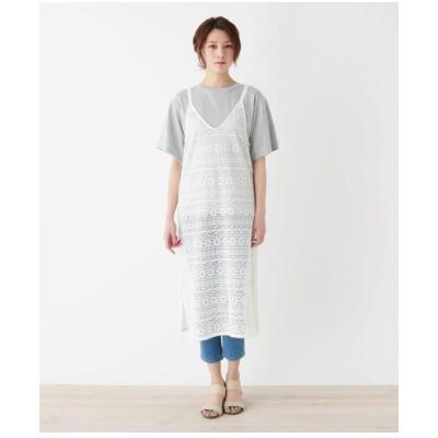 【M-LL】クロシェ風キャミワンピース+Tシャツセット