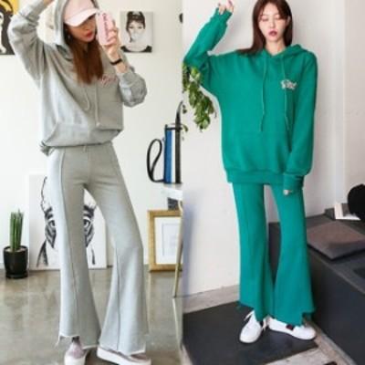 パーカー セットアップ レディース 韓国 ファッション 春服 レディース スウェット セットアップ ロゴパーカー レディース 韓国 ファッシ